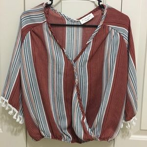 💓Striped Blouse with Fringe Sleeves💓